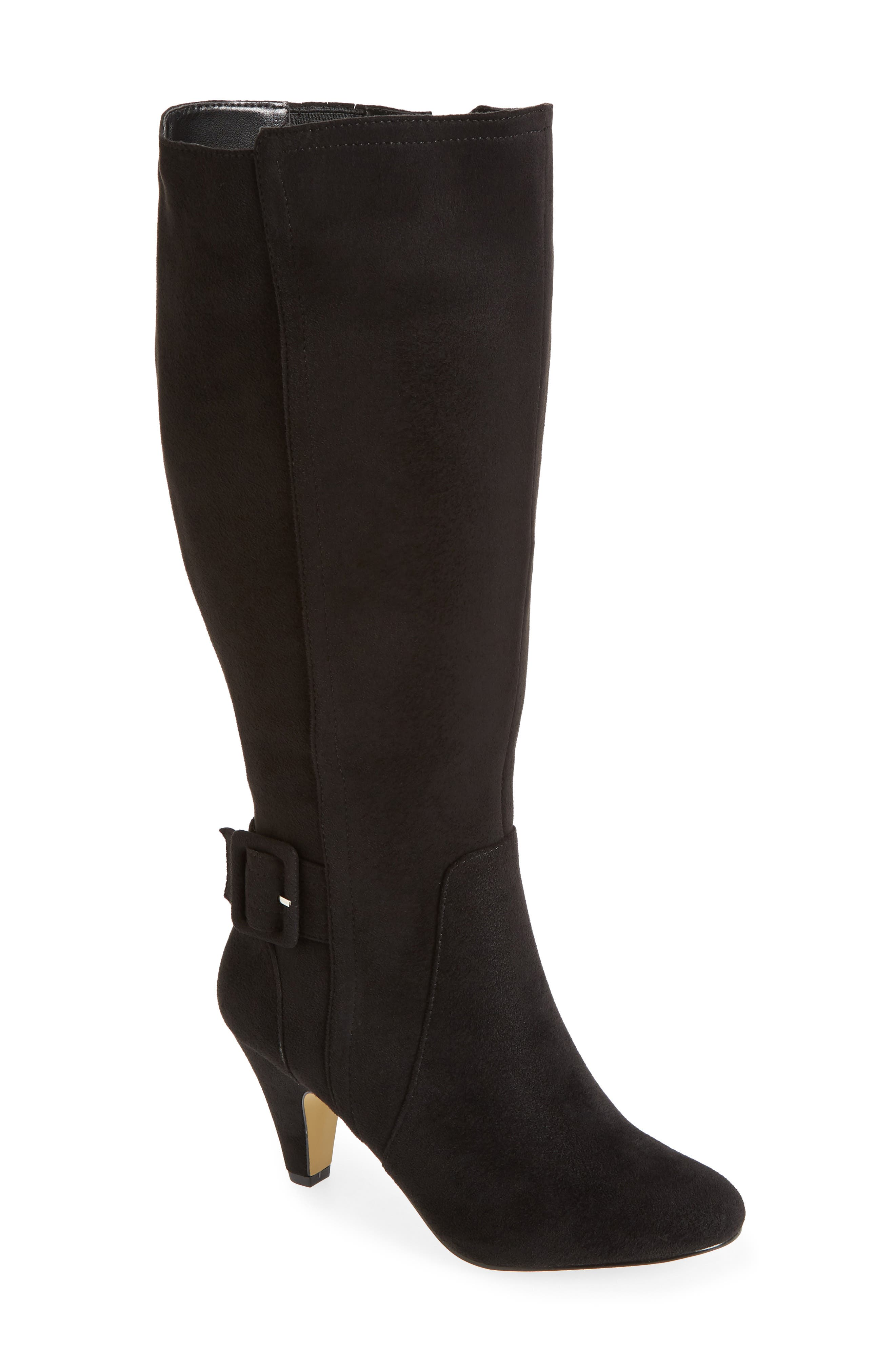 A slim, belted strap with a covered buckle wraps the ankle of a sleek, versatile tall boot styled with an almond toe and graceful sculpted heel. Style Name: Bella Vita Troy Ii Knee High Boot (Women) (Wide Calf). Style Number: 5918938. Available in stores.