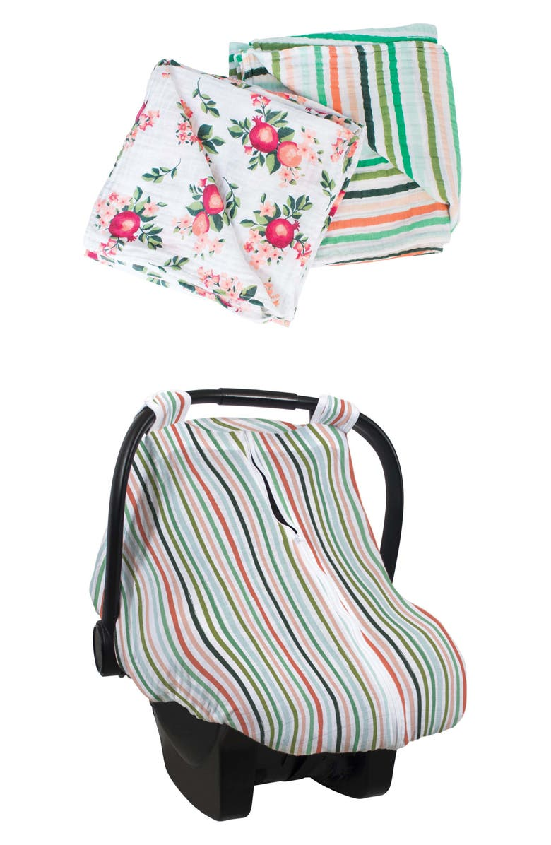 BÉBÉ AU LAIT Ojai Muslin Swaddle Blankets & Car Seat Cover Set, Main, color, OJAI & RIBBON