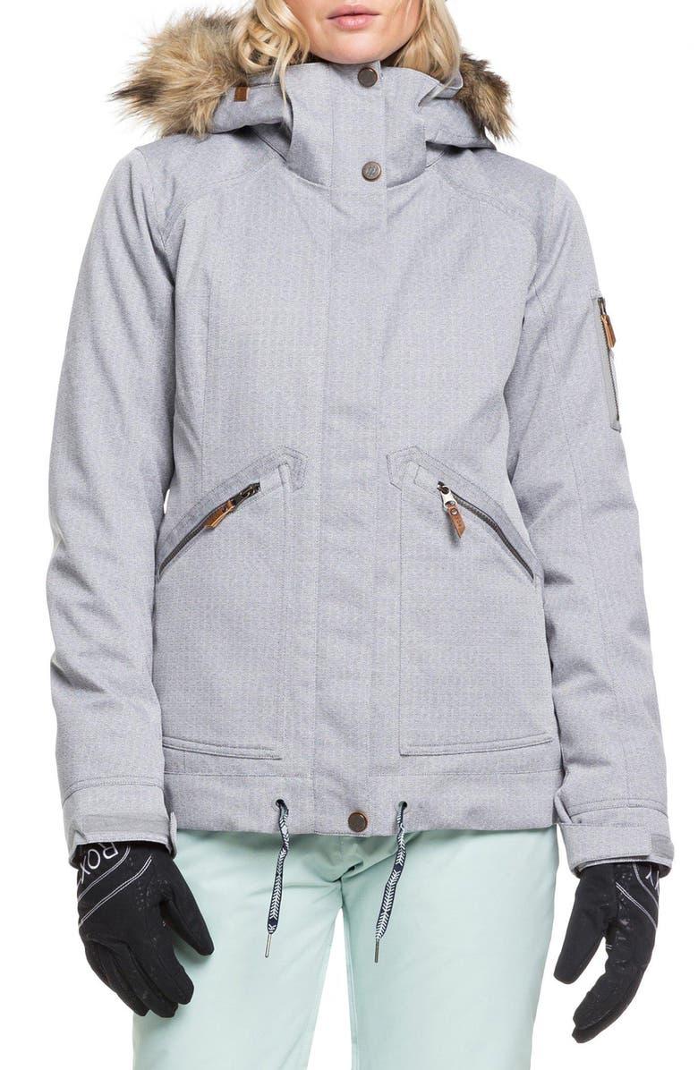 ROXY Meade Snow Jacket, Main, color, HEATHER GREY