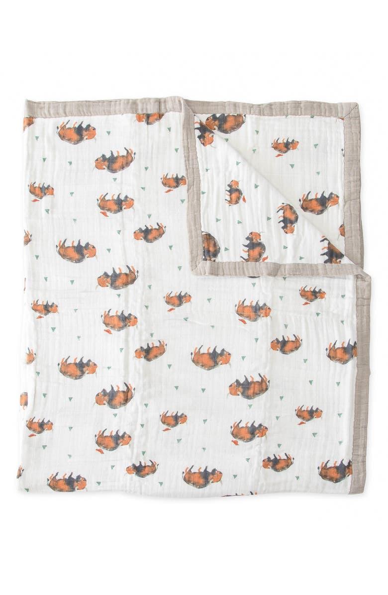 LITTLE UNICORN Cotton Muslin Quilt, Main, color, BISON