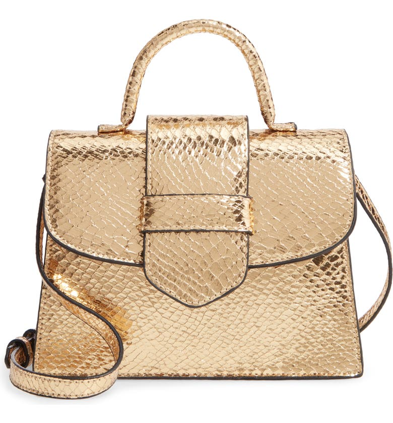STEVE MADDEN Lizard Embossed Faux Leather Top Handle Satchel, Main, color, GOLD