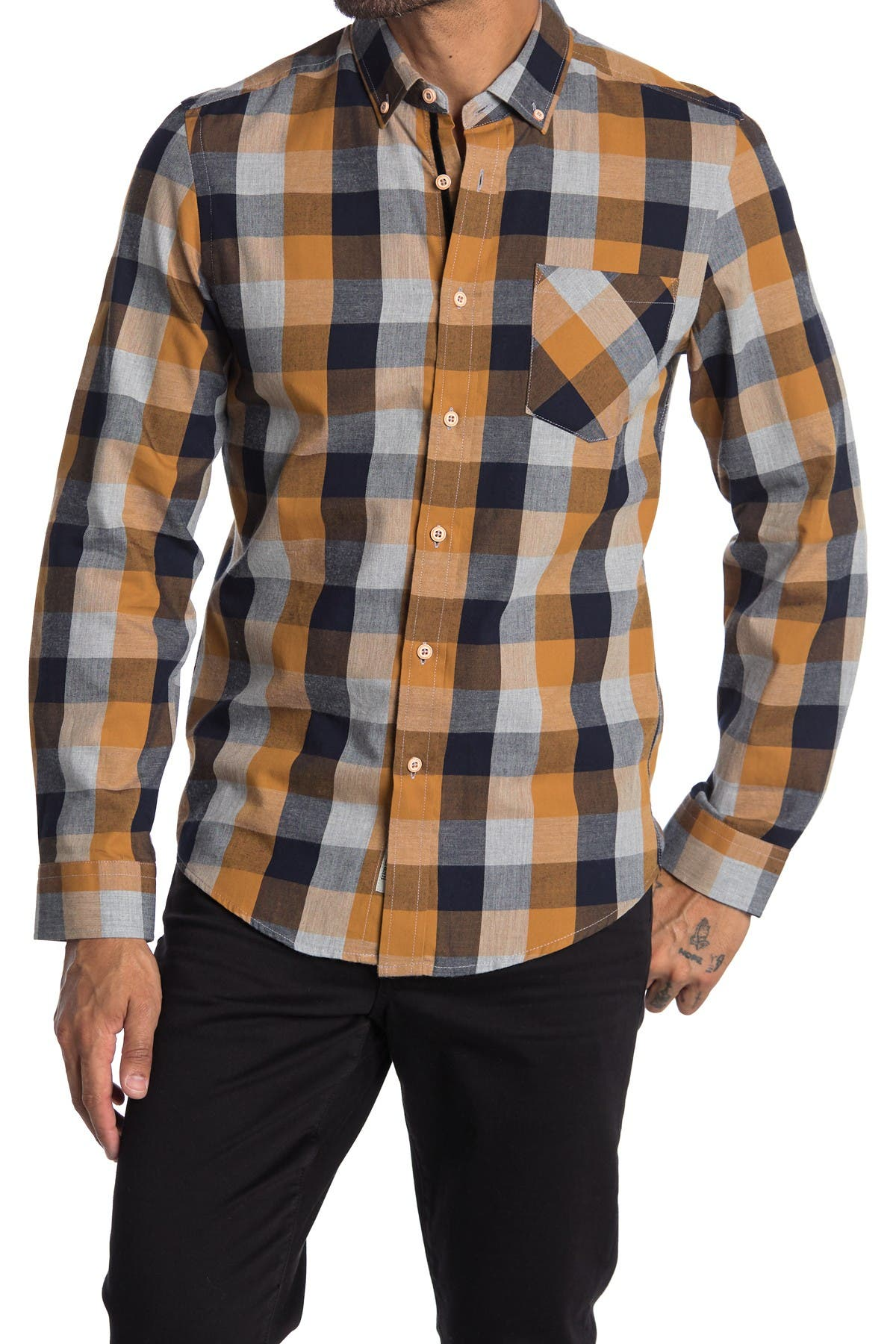 Image of Report Collection Plaid Regular Fit Flannel Shirt