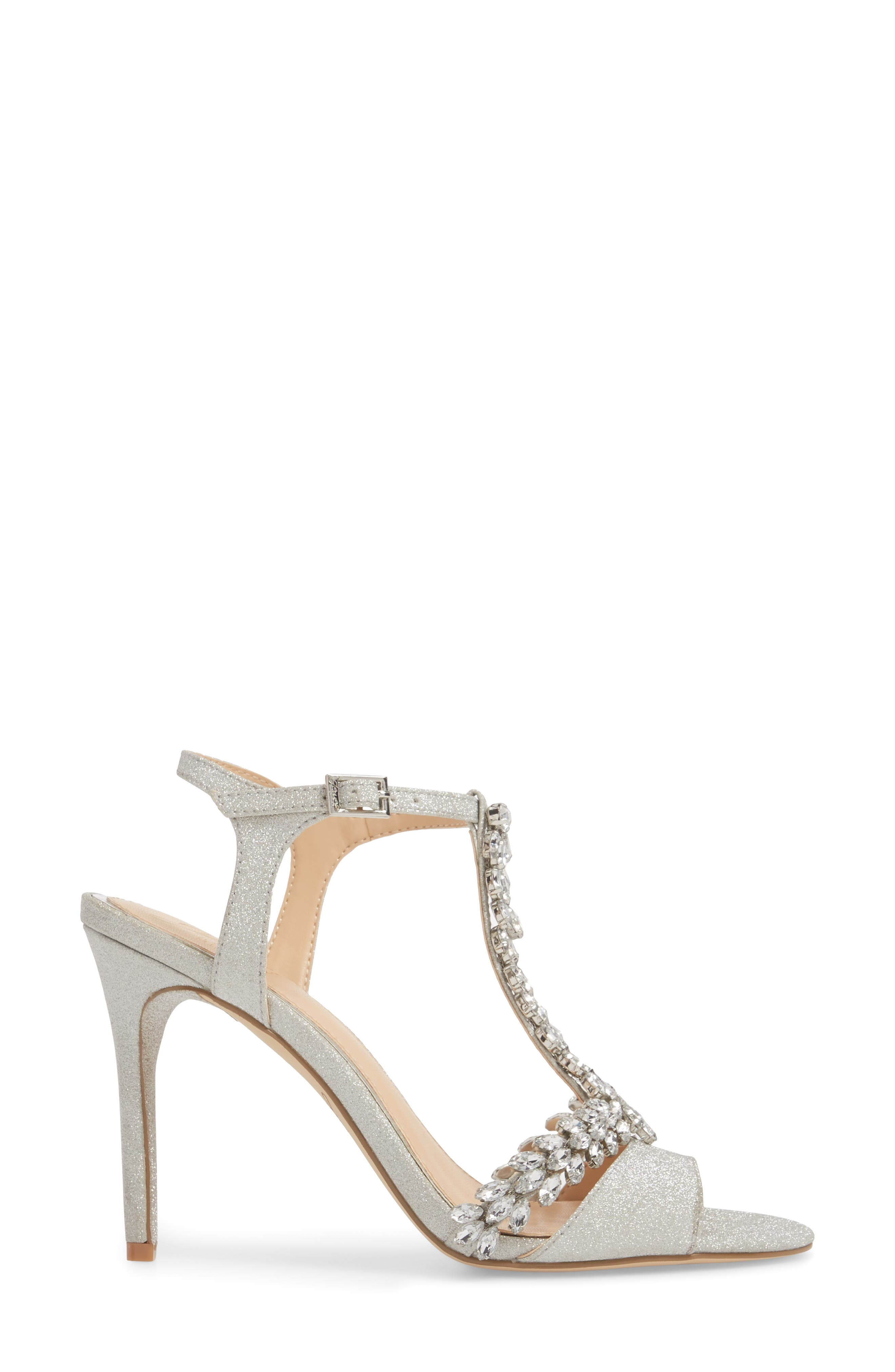 ,                             Maxi Crystal Embellished Sandal,                             Alternate thumbnail 3, color,                             SILVER GLITTER FABRIC