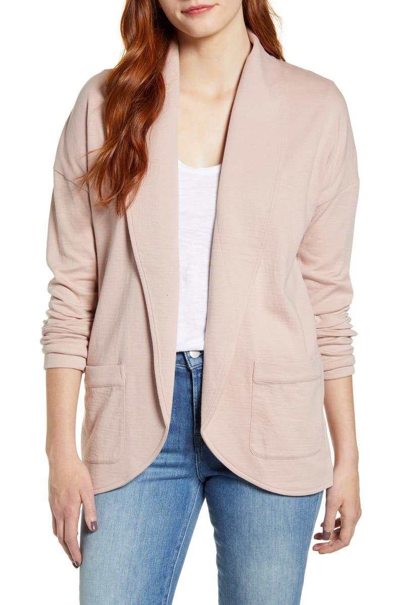 CASLON<SUP>®</SUP> Textured Knit Jacket, Main, color, PINK ADOBE
