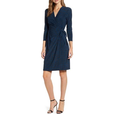 Anne Klein Dot Faux Wrap Dress, Black