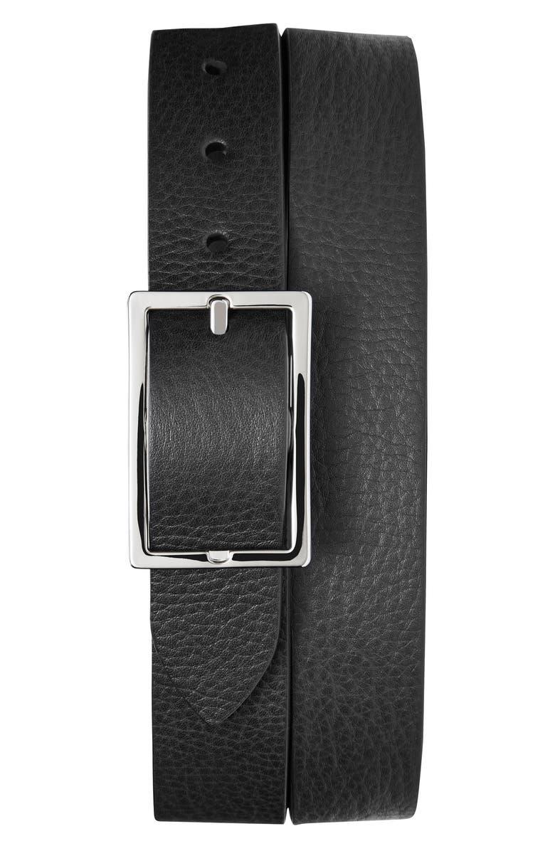 SHINOLA Reversible Leather Belt, Main, color, BLACK/ WALNUT