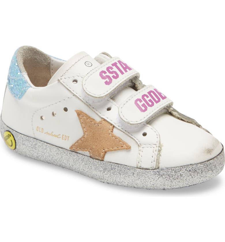 GOLDEN GOOSE Old School Glitter Sneaker, Main, color, WHITE/ BEIGE STAR/ SILVER