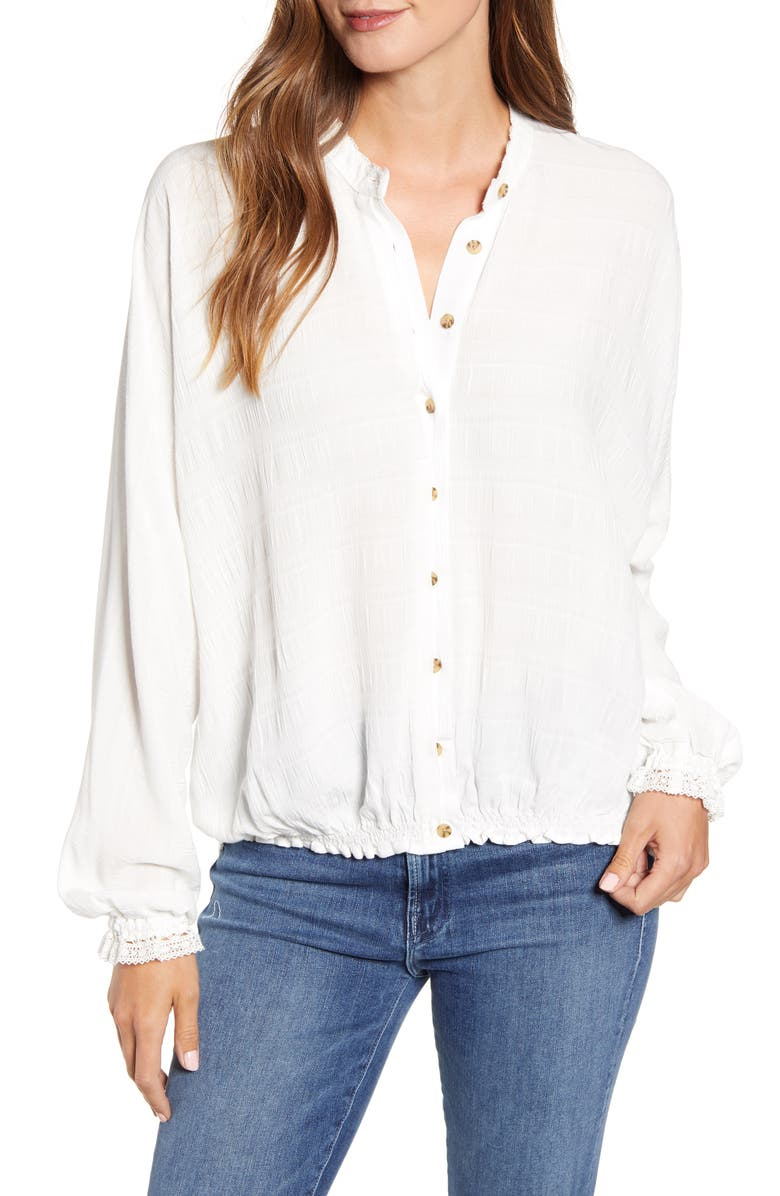 WIT & WISDOM Blouson Sleeve Top, Main, color, OFF WHITE