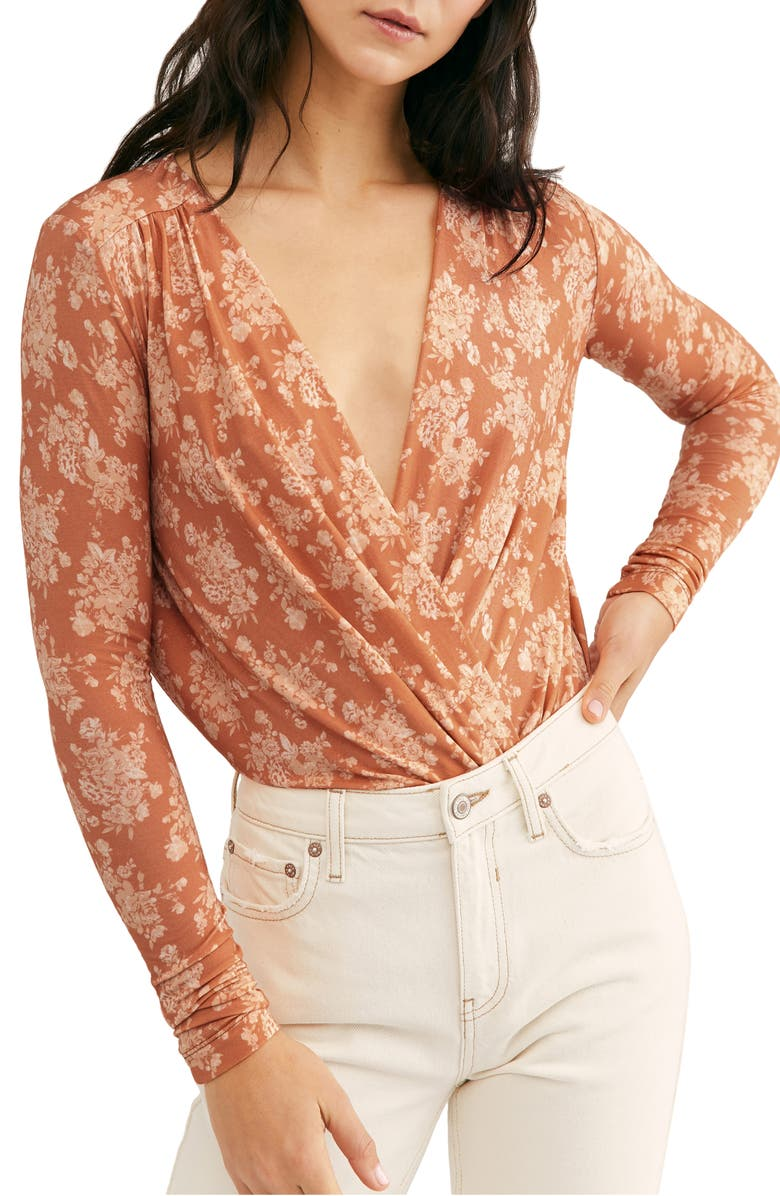 FREE PEOPLE Print Long Sleeve Bodysuit, Main, color, SPRING COMBO