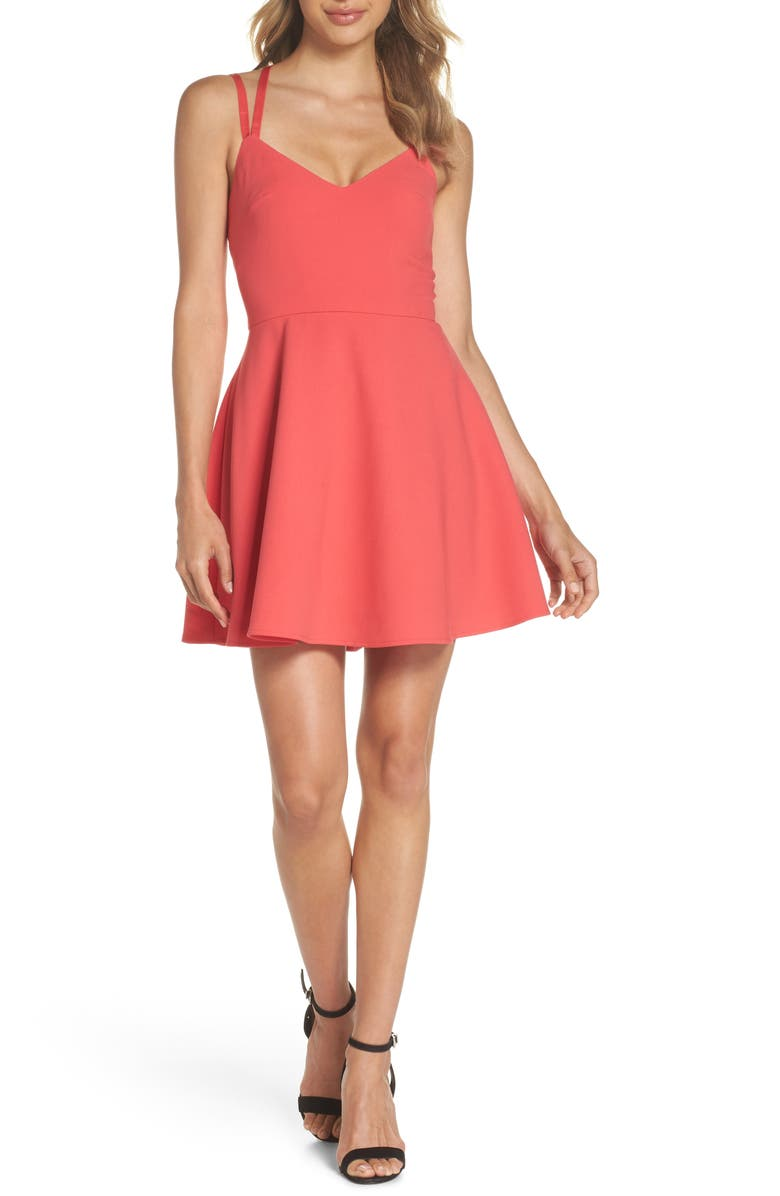 FRENCH CONNECTION Whisper Light Fit & Flare Dress, Main, color, AZALEA