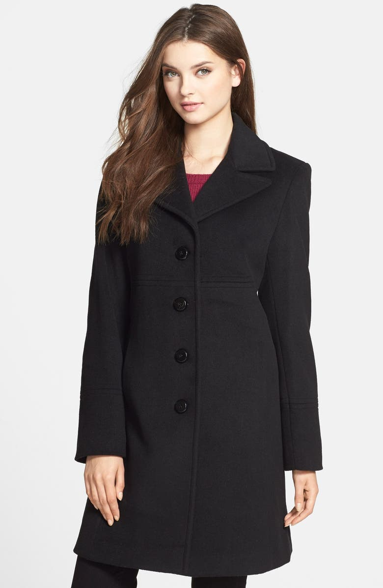 LARRY LEVINE Single Breasted Wool Blend Walking Coat, Main, color, 001