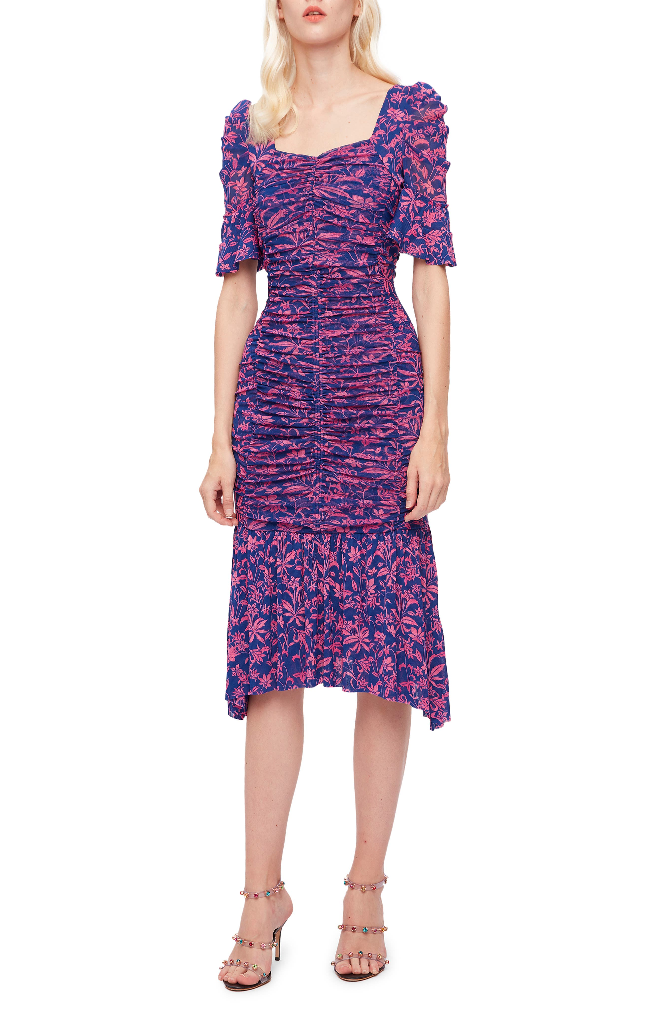 Taylor Floral Ruched Mesh Midi Dress