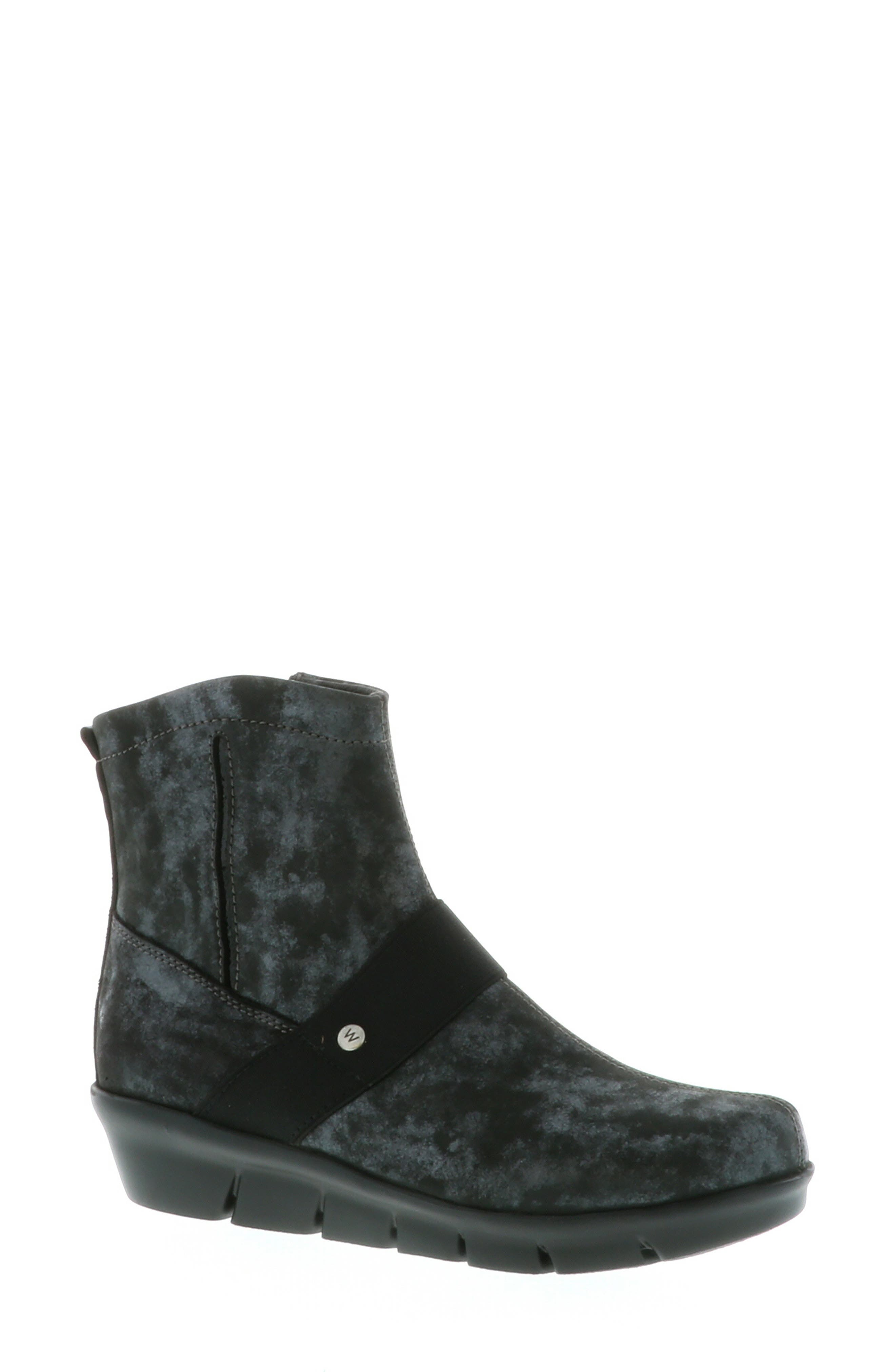 ,                             Omni Wedge Bootie,                             Alternate thumbnail 8, color,                             BLACK NUBUCK LEATHER