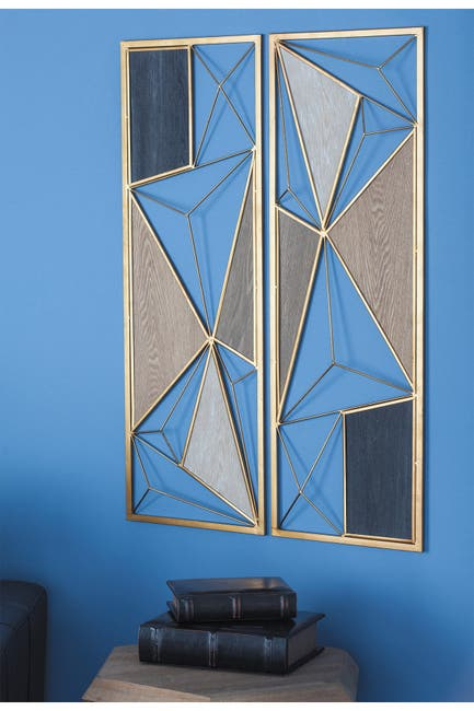 Image of CosmoLiving by Cosmopolitan Large Rectangular Black/Brown Modern Style Metal & Wood Wall Plaque - Set of 2