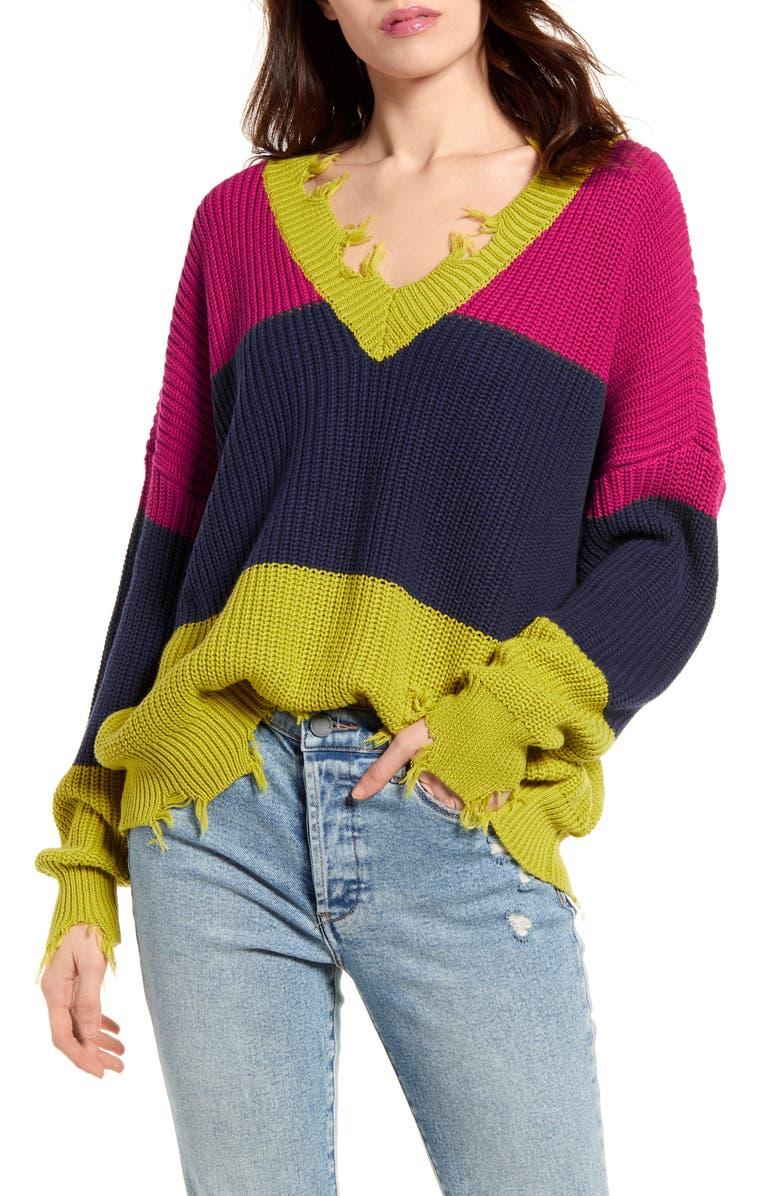 BAND OF GYPSIES Colorblock Distressed Sweater, Main, color, CHARTREUSE NAVY
