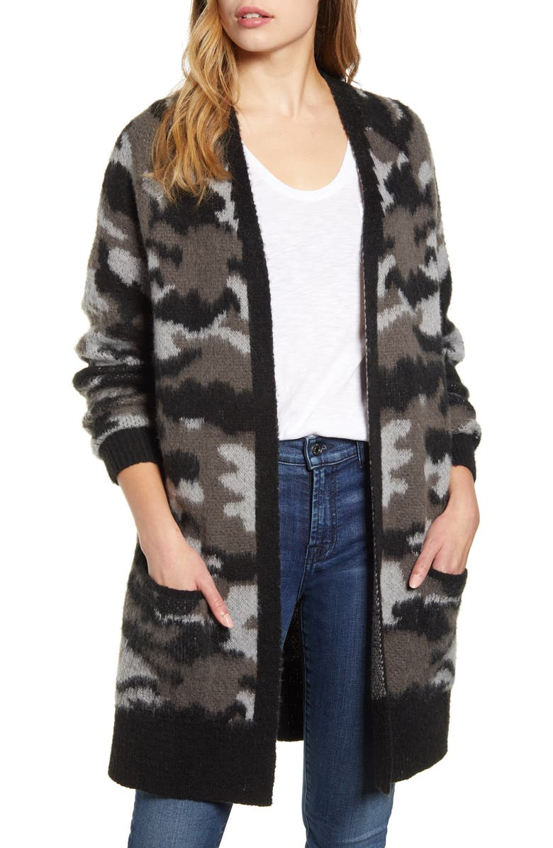 LUCKY BRAND Camo Open Front Long Cardigan, Main, color, 030