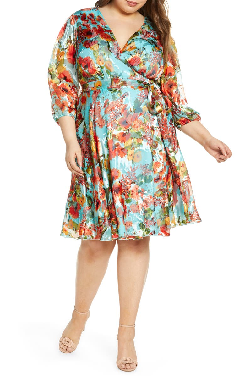 MARÉE POUR TOI Floral Print Chiffon Wrap Dress, Main, color, BLUE ORANGE