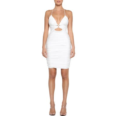 Tiger Mist Londyn Strappy Cutout Ruched Minidress, White