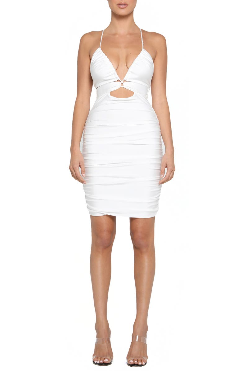 Londyn Strappy Cutout Ruched Minidress by Tiger Mist
