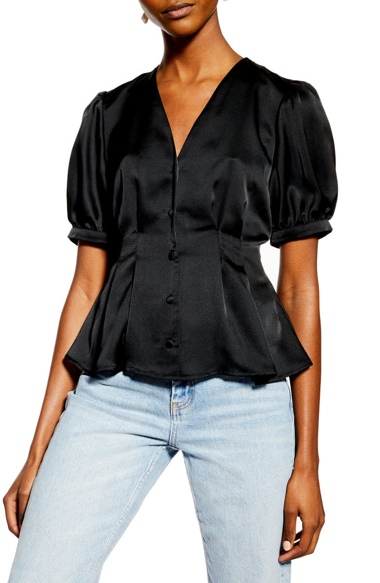 TOPSHOP Pleated Button Front Satin Top, Main, color, BLACK