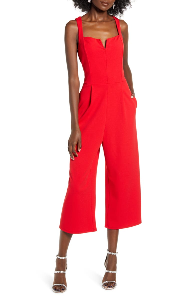SPEECHLESS Notch Neck Jumpsuit, Main, color, RED