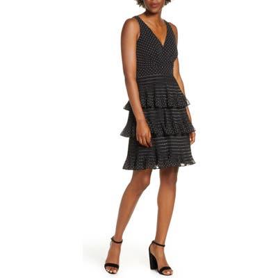 Petite Eliza J Tiered Pleat Chiffon Dress, Black