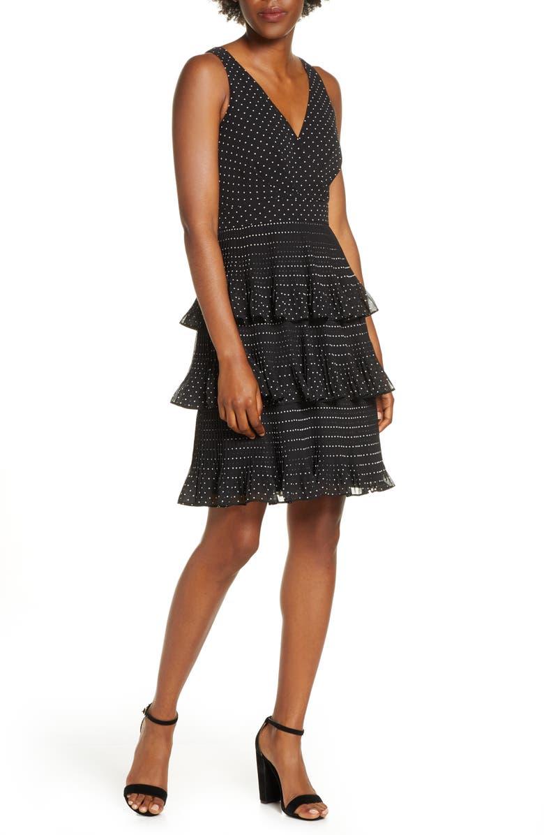 ELIZA J Tiered Pleat Chiffon Dress, Main, color, BLACK