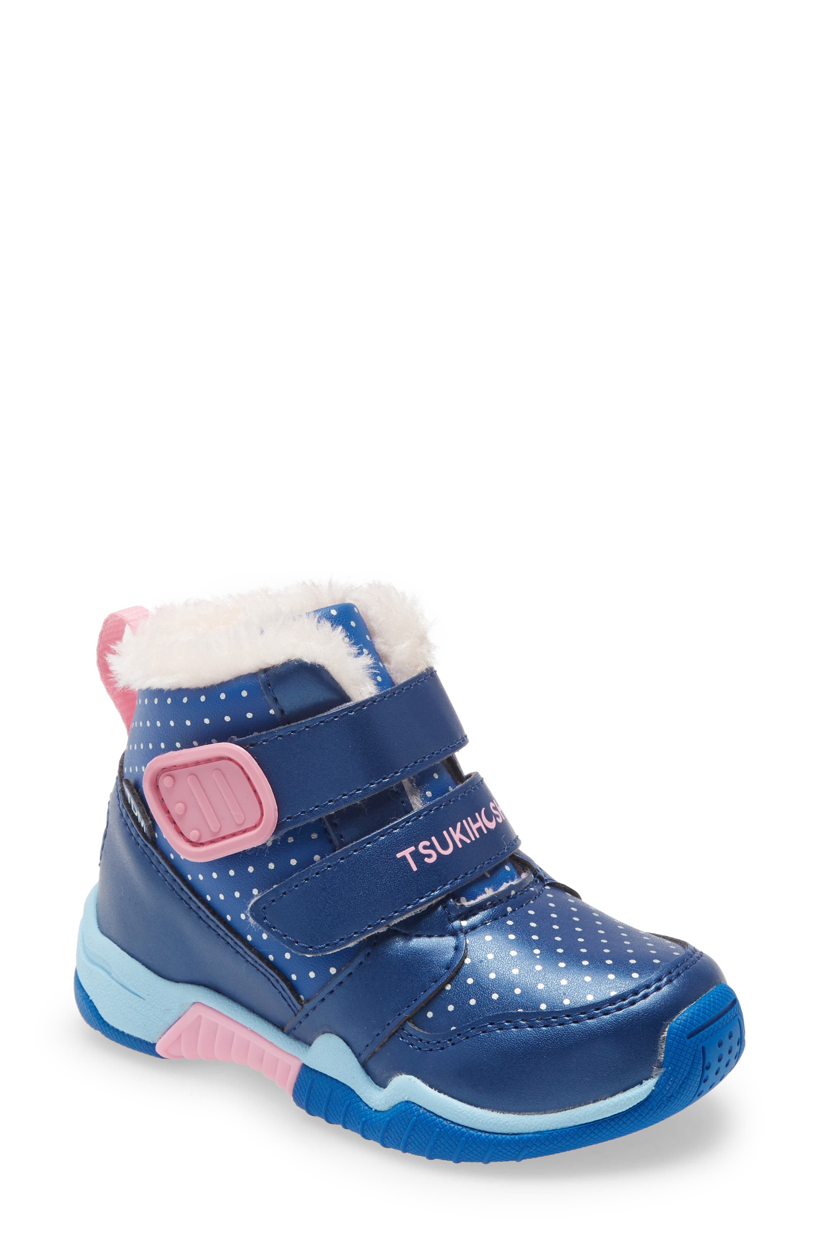 Plush faux fur warms the interior of this waterproof boot designed with a roomy toe box to allow little toes to wiggle and stretch, just like they would barefoot. A firm heel provides stability and protects from overpronation, while the light, flexible sole promotes natural movement. Style Name: Tsukihoshi Kids\\\' Igloo Waterproof Sneaker Boot (Walker, Toddler & Little Kid). Style Number: 6145533. Available in stores.
