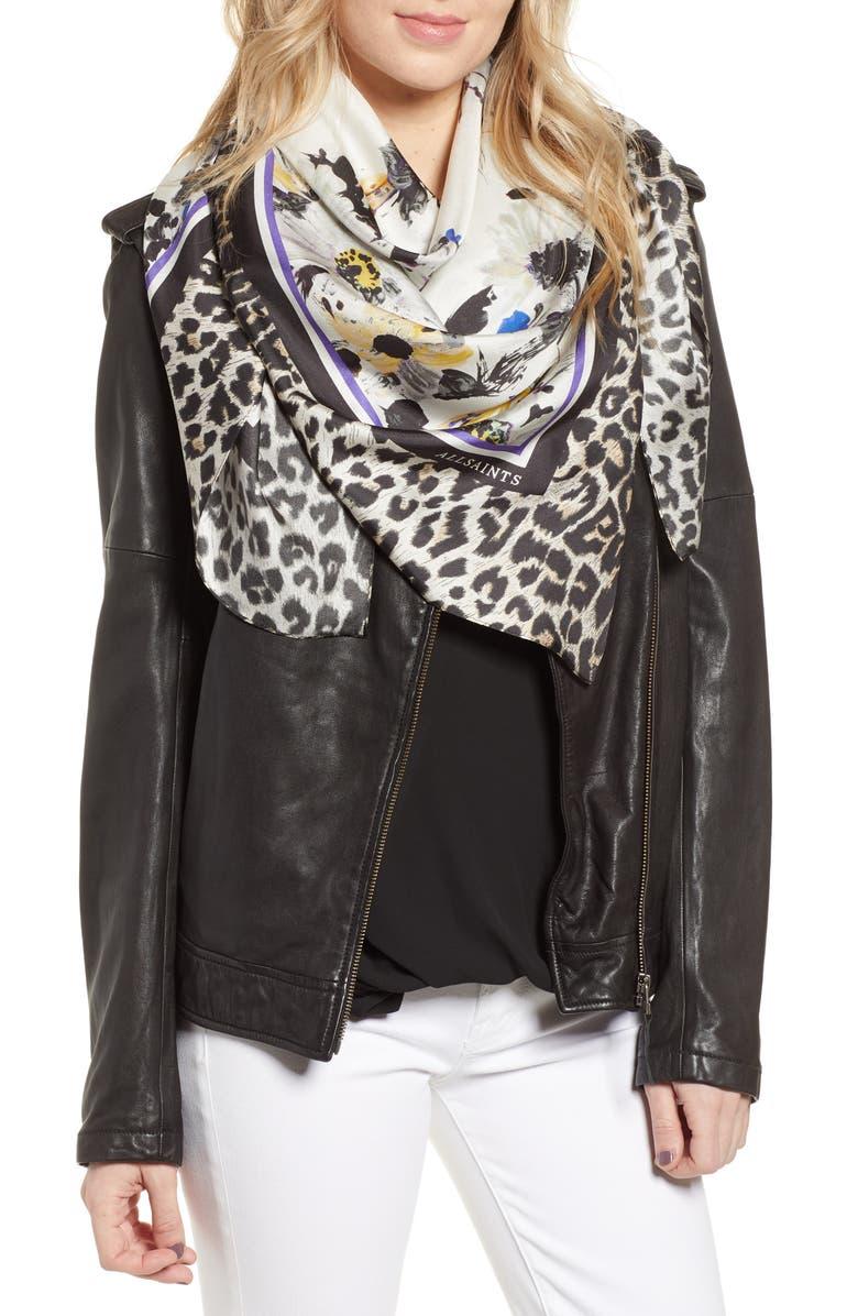 ALLSAINTS Leppo Fleurir Square Silk Scarf, Main, color, BLACK