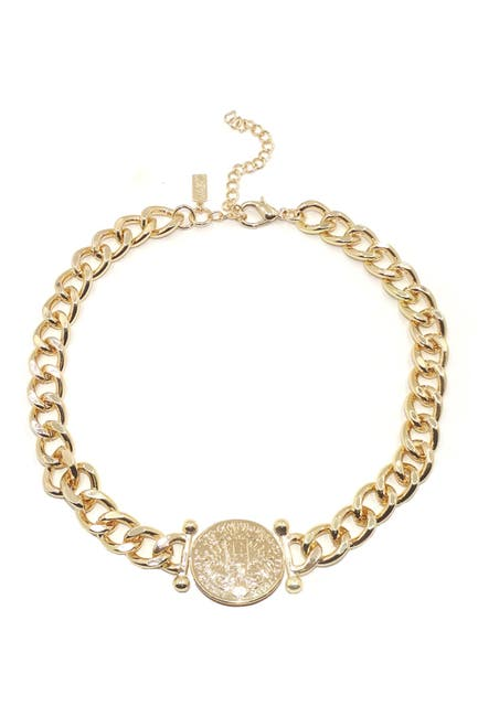 Image of Savvy Cie 18K Yellow Gold Plated Coin Pendant Chain Link Necklace