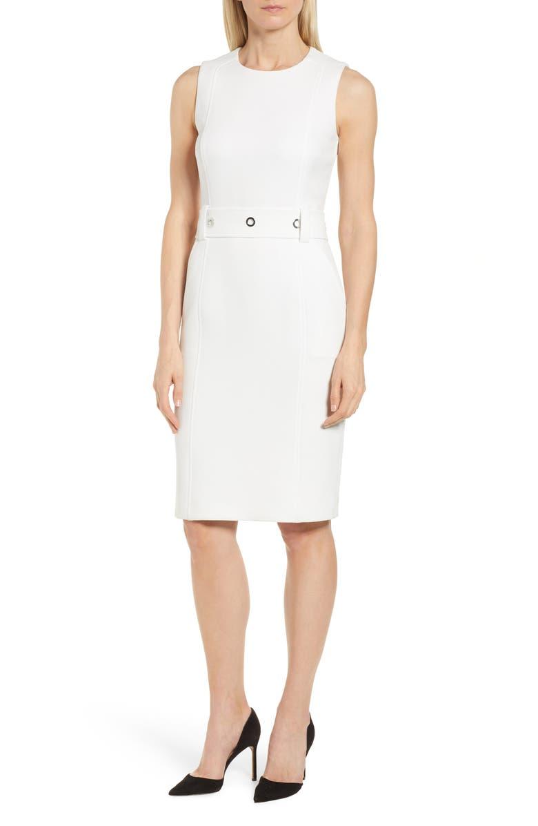 BOSS Duleama Compact Twill Dress, Main, color, 112