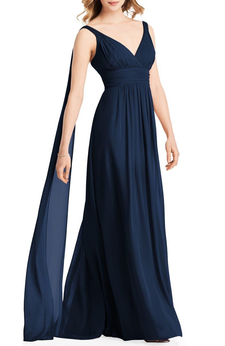 JENNY PACKHAM Streamer Back Chiffon Gown, Main, color, MIDNIGHT