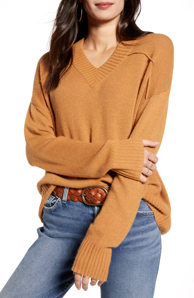 TREASURE & BOND Seam Detail Sweater, Main, color, TAN DALE
