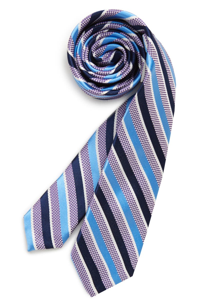 NORDSTROM Kenbrooke Stripe Silk Tie, Main, color, PURPLE