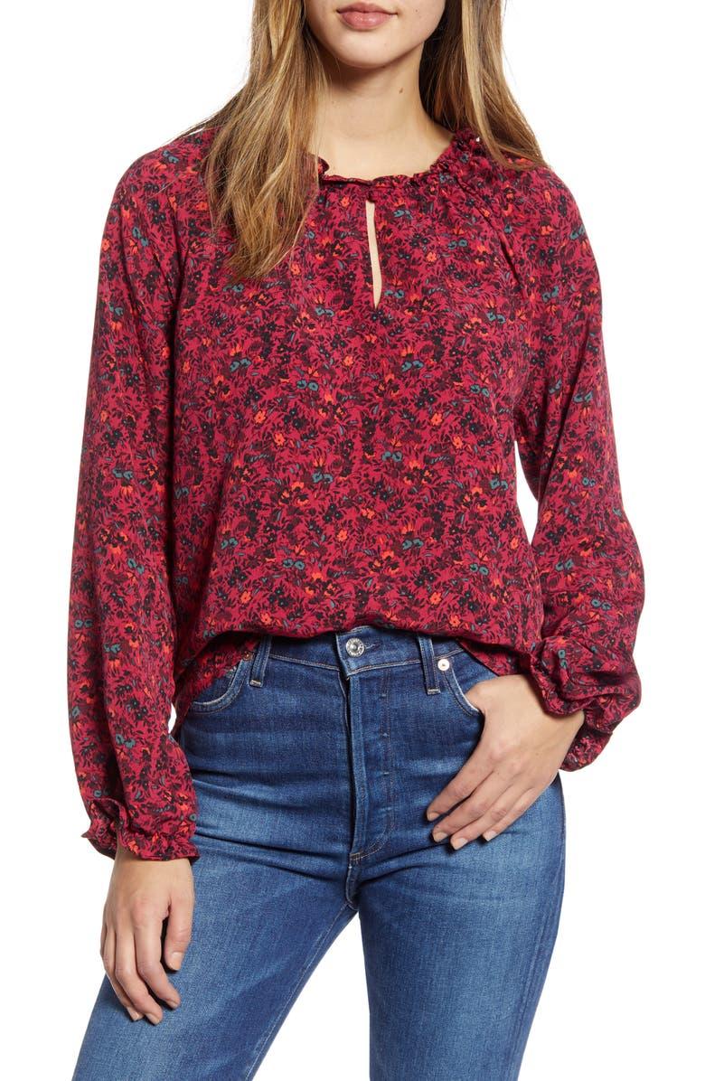 BOBEAU Floral Ruffle Neck Long Sleeve Crepe Blouse, Main, color, DEEP BERRY DITSY