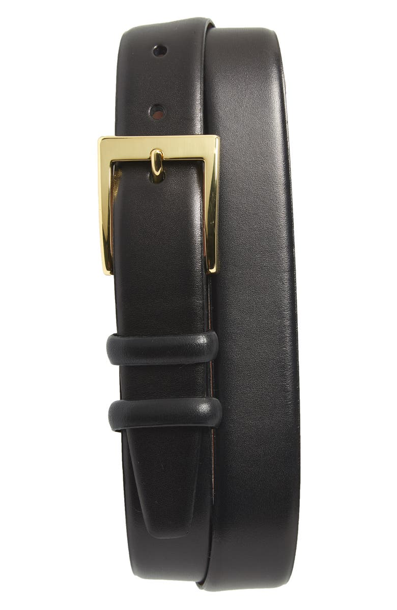 TORINO Double Buckle Leather Belt, Main, color, BLACK