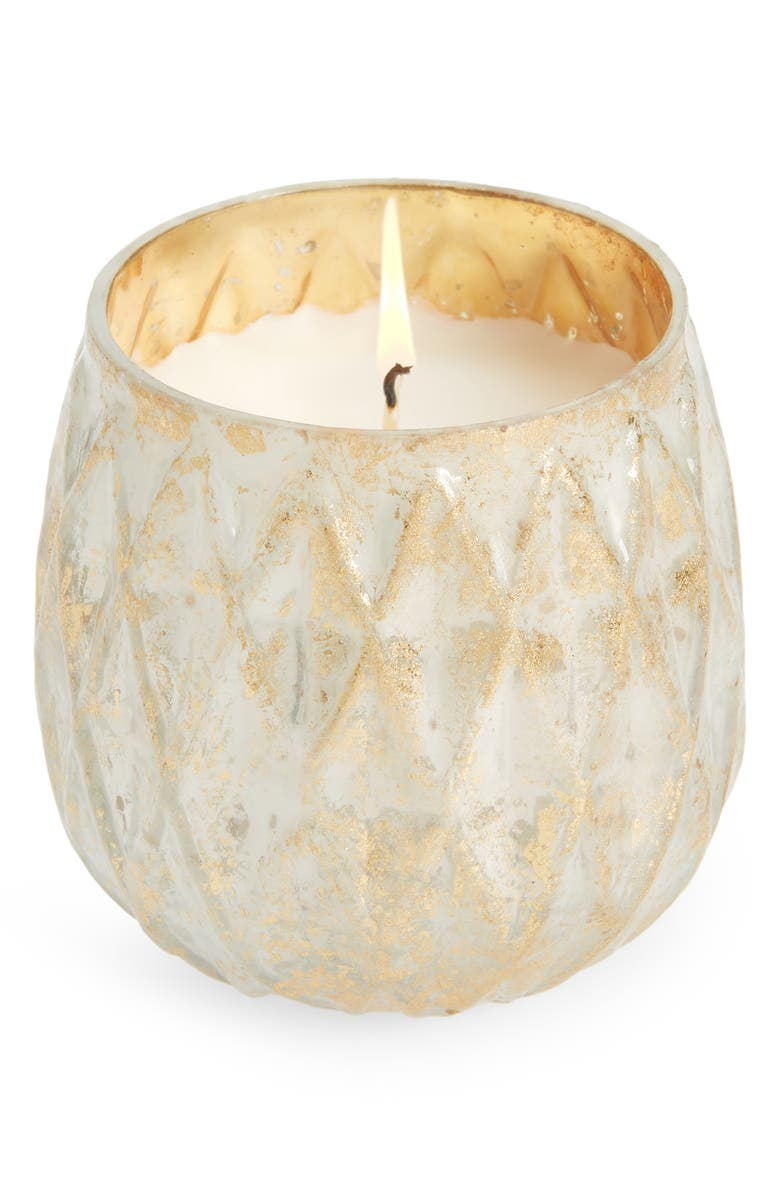 ANTHROPOLOGIE Small Distressed Foil Candle, Main, color, TONKA AND TOBACCO LEAF