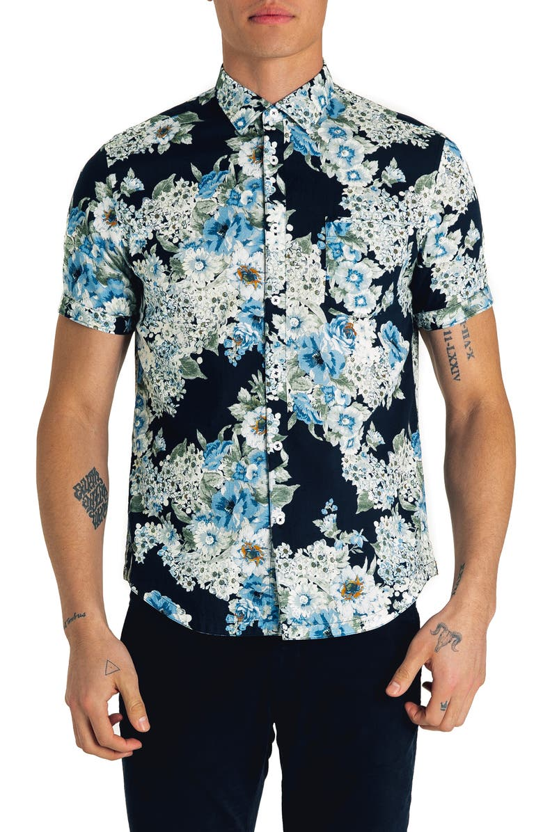 GOOD MAN BRAND Slim Fit Pacific Floral Print Shirt, Main, color, INDIGO