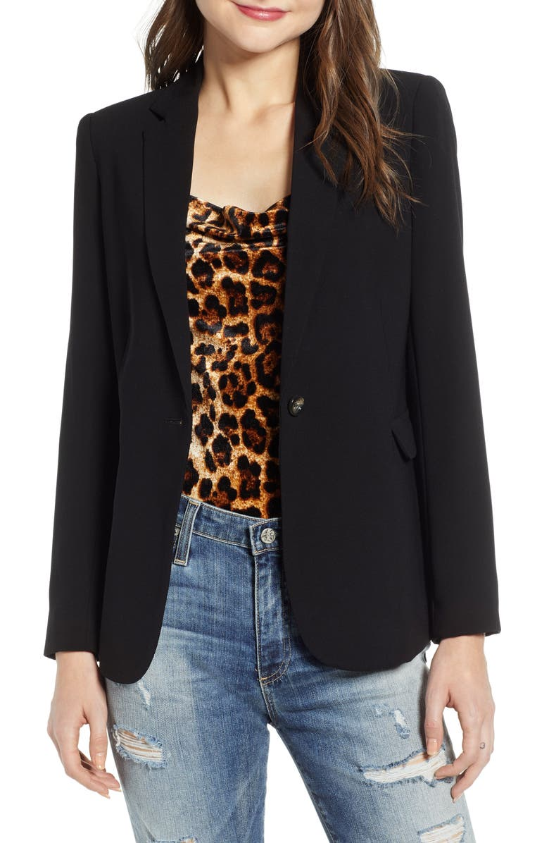 MURAL Single Button Blazer, Main, color, BLACK
