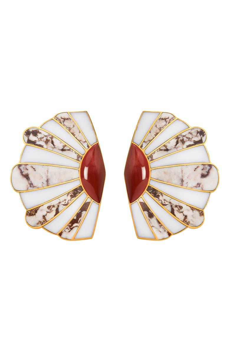 MONICA SORDO Mullu Ear Fan Earrings, Main, color, WHITE/ RED JASPER/ RHODONITE