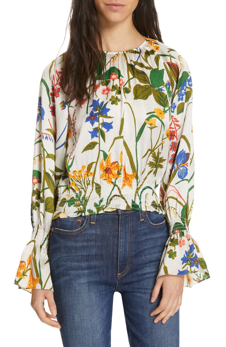 RODEBJER Adania Floral Print Silk Blouse, Main, color, 900