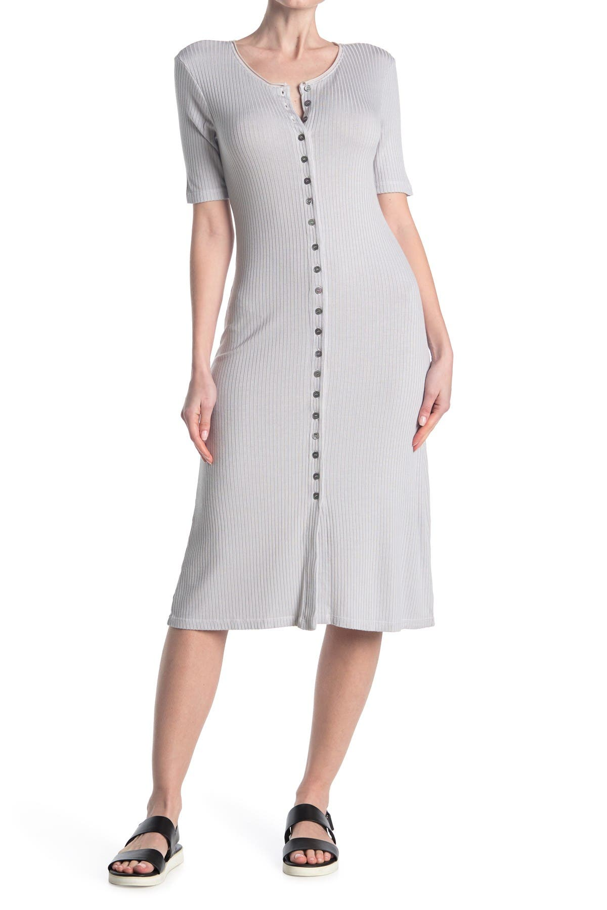 Image of Stateside Rib Maxi Button Up Dress