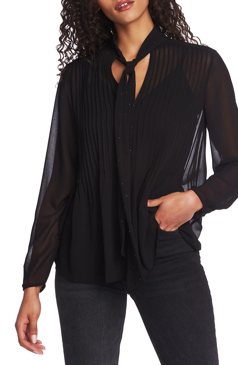 1.STATE Tie Neck Pintuck Chiffon Blouse, Main, color, 006