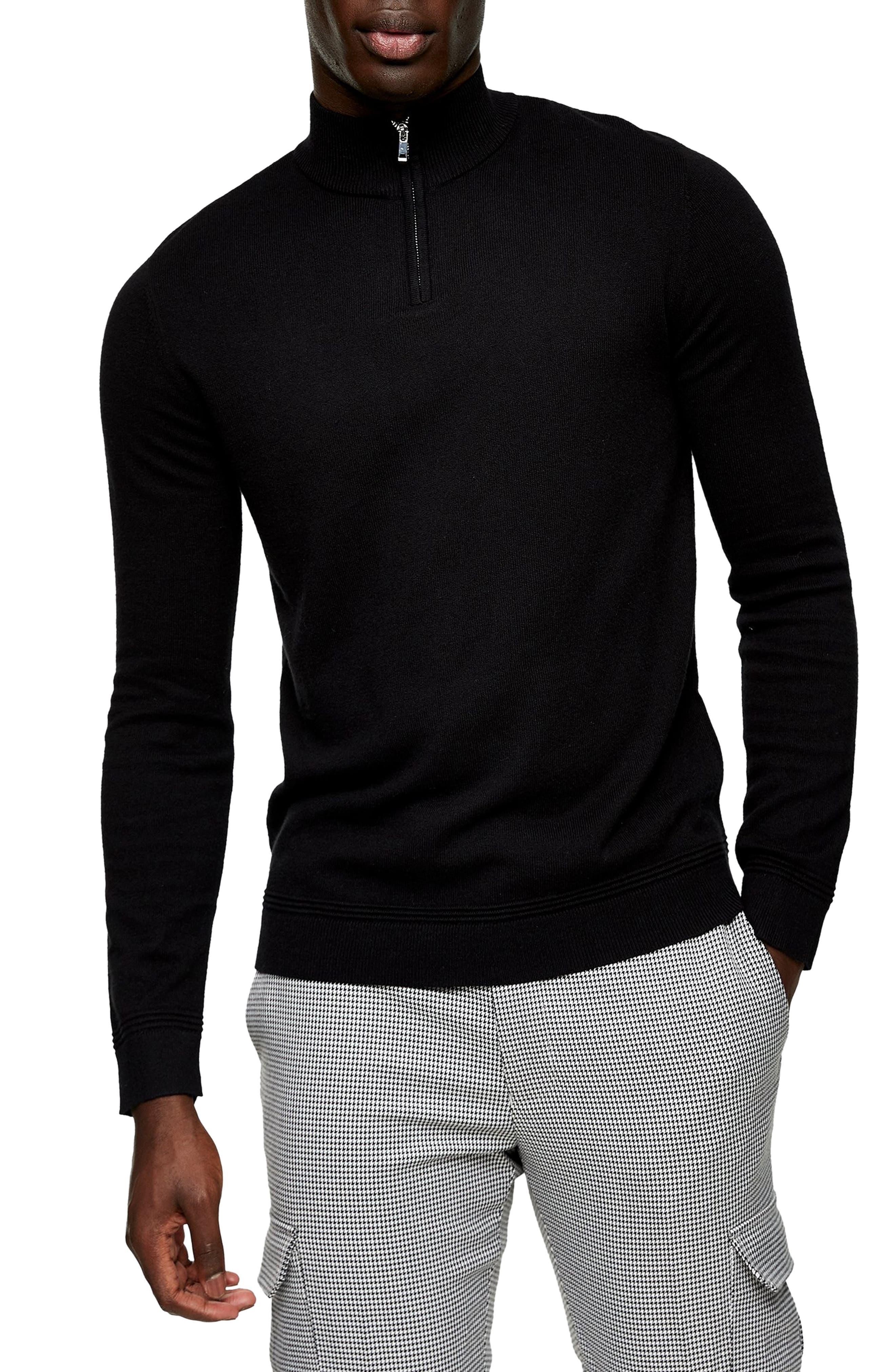 Topman Quarter Zip Funnel Neck Sweater In Black