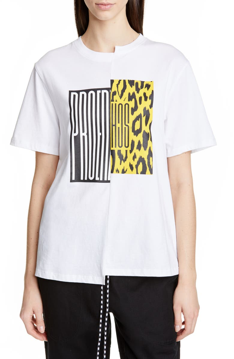 PROENZA SCHOULER WHITE LABEL Proenza Schouler PSWL Asymmetrical Graphic Tee, Main, color, WHITE/ YELLOW/ RED LOGO SPLIT