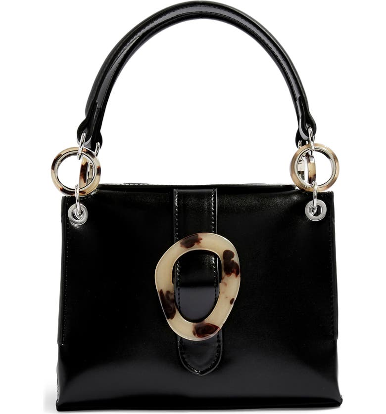 TOPSHOP Storm Buckle Shoulder Handbag, Main, color, BLACK MULTI