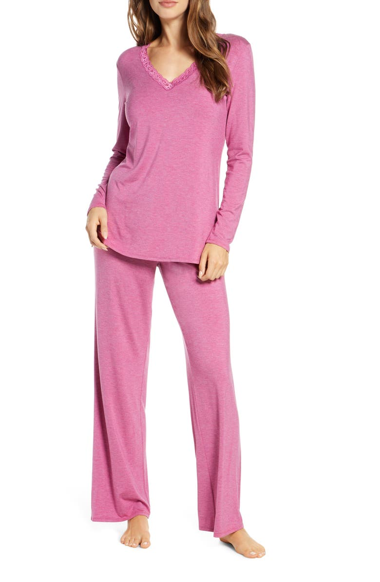 NATORI Feathers Pajamas, Main, color, MUL HT MULBERRY