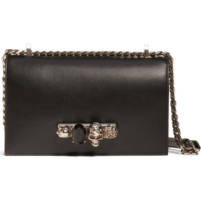 Alexander Mcqueen Embellished Knuckle Clasp Leather Box Satchel - Black