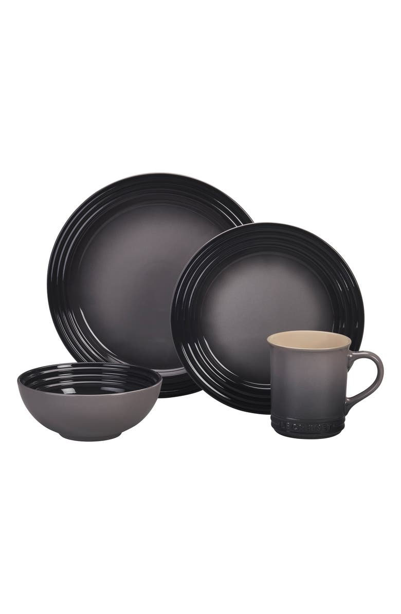 LE CREUSET 16-Piece Stoneware Dinnerware Set, Main, color, OYSTER