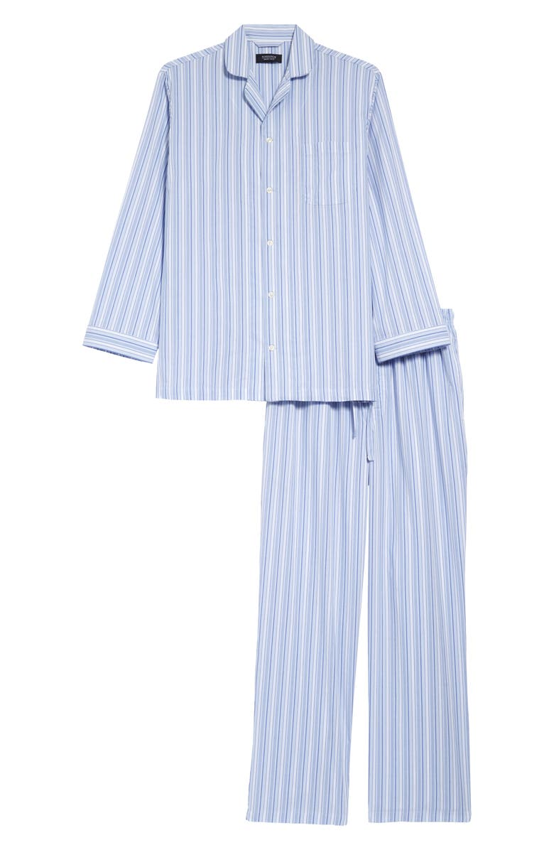 NORDSTROM MEN'S SHOP Poplin Pajama Set, Main, color, BLUE FEATHER JAMES STRIPE
